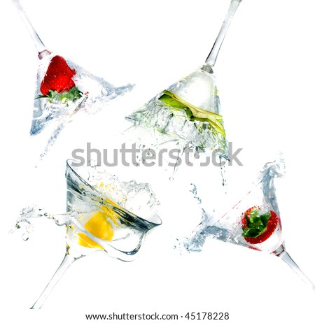 splashing into a martini glass
