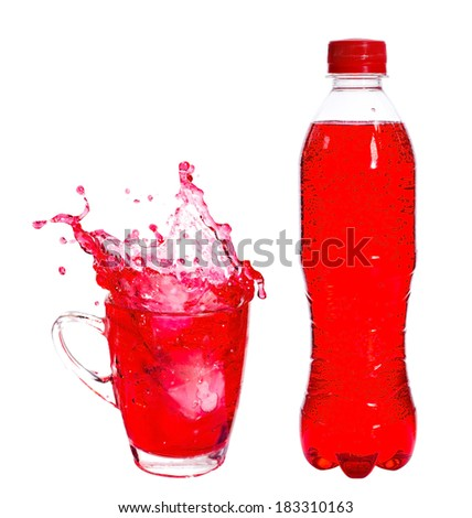 Splashing of red soda with ice in glass on white background.