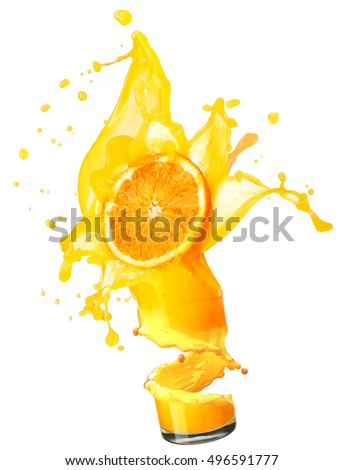 splashing orange juice with oranges against white background