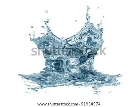 Splashing water abstract background isolated on white with clipping path