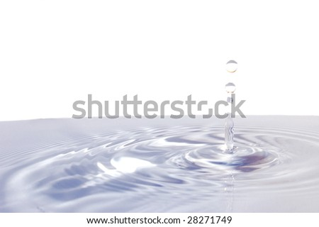 splashing water drop isolated on white background
