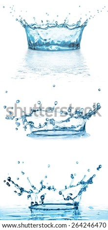 splashing water on white background