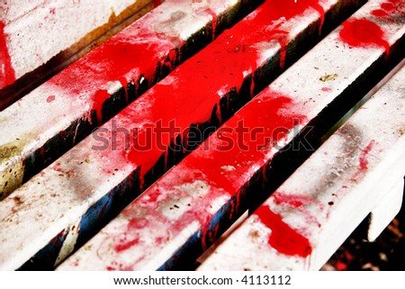 splattered bench - stock photo