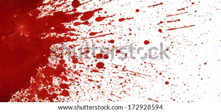 Splattered blood stain on white background - stock photo