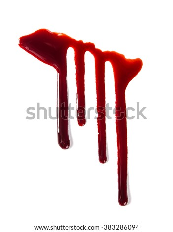 Splattered blood stains on white background, close-up. - stock photo