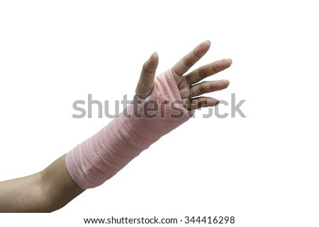Splint,broken bone,broken hand isolate on white background