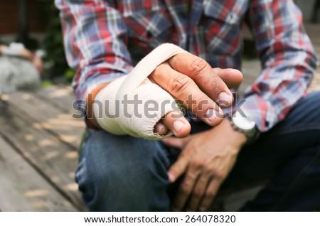Splint broken bone  hand Injured in blur background - stock photo