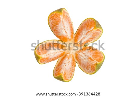 Split an orange to five segments, it look like a flower, isolated on white background, file includes an excellent clipping path