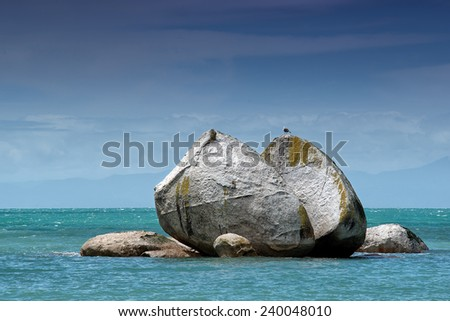 Split Apple Rock, Abel Tasman National Park, South Island, New Zealand - stock photo
