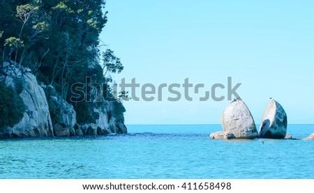 Split Apple Rock, Tasman Bay, New Zealand - stock photo