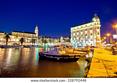 Split architecture evening seafront view, Dalmatia, Croatia - stock photo