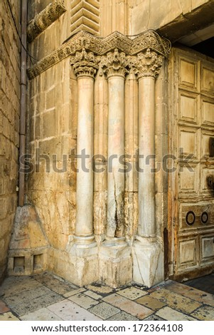 Split column of main entrance to the church of the Holy Sepulchre in Jerusalem Old City cracked by heaven lightning according to legend.