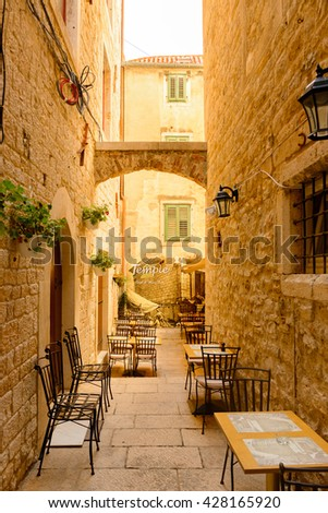 SPLIT, CROATIA - AUG 22, 2014: Architecture of the Historic Complex in Split, Croatia. Split is the largest city of the region of Dalmatia and a popular touristic destination