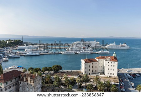 Split - Croatia - August 25, 2014 Cityscape from bell tower of Cathedral of St Domnius, Split, Dalmatia, Croatia