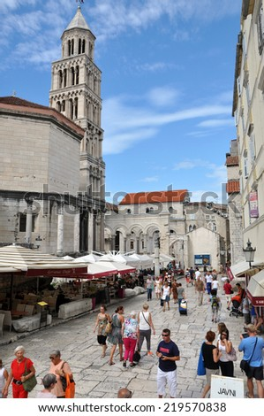 SPLIT, CROATIA - AUGUST 26: Unidentified tourists visiting the Palace of the Roman Emperor Diocletianus in the Unesco heritage city of Split. On 26 August, 2014 in Split, Croatia - stock photo