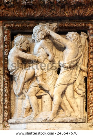SPLIT, CROATIA - FEBRUARY 19: Scourging of Jesus, Altar of St. Anastasius in the Cathedral of St. Domnius in Split on February 19, 2011.