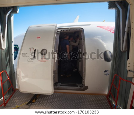 SPLIT CROATIA - JUN 6: Boarding in Croatia Airlines Airbus A319 on June 6 & Airplane Door Stock Images Royalty-Free Images \u0026 Vectors ... Pezcame.Com