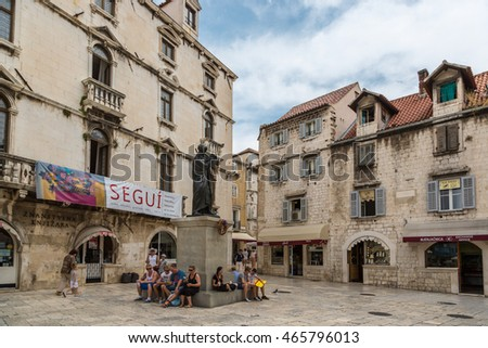 Split, Croatia - June 4th. 2014 - Tourists enjoying a beautiful summer day in the historical city of Split in Croatia, Europe