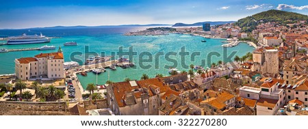 Split historic waterfront panoramic aerial view, Dalmatia, Croatia - stock photo