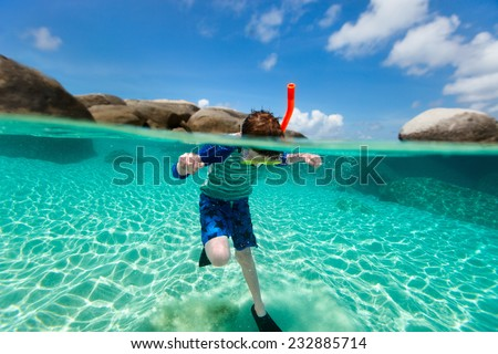 Split of above and underwater photo of a cute boy swimming and snorkeling in ocean - stock photo