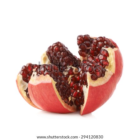 Split open flower served pomegranate Punica granatum fruit isolated over the white background