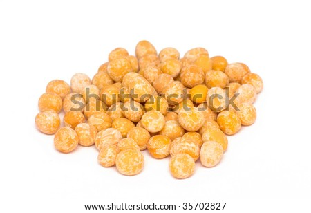 Split peas isolated on white - stock photo
