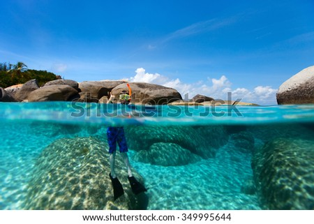 Split photo of above and underwater photo of cute little boy swimming in ocean - stock photo