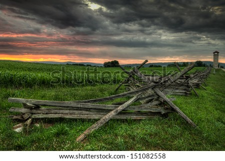 Split-Rail Fence and Observation Tower - Antietam National Battlefield, Sharpsburg, Maryland - stock photo