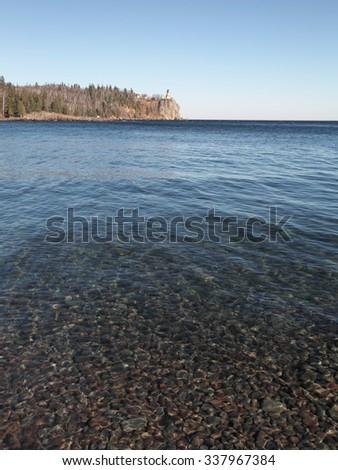 Split Rock Lighthouse on the Lake Superior north shore  - stock photo