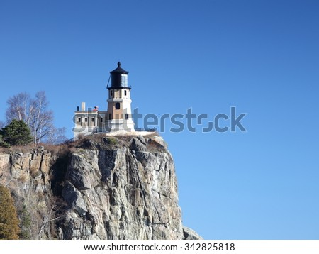 Split Rock Lighthouse on the Lake Superior north shore  - stock photo