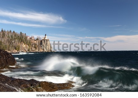 Split Rock lighthouse on the Lake Superior north shore in Minnesota  - stock photo