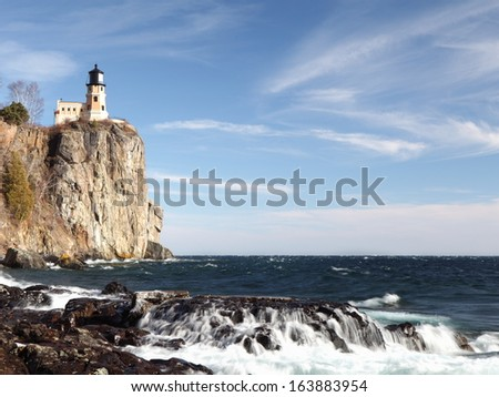 Split Rock lighthouse on the Lake Superior north shore in Minnesota  - stock photo