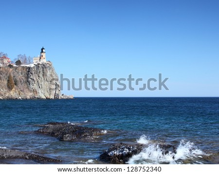 Split Rock state park on the Lake Superior north shore in Minnesota in winter - stock photo