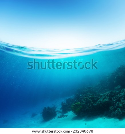 Split shot of the coral reef underwater and sea surface with waves - stock photo