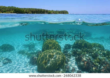 Split view above and below sea surface with corals underwater and over waterline a tropical island at the horizon, Caribbean, Panama - stock photo