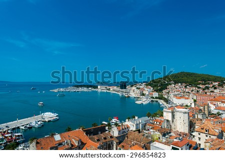 Split- view of coastline and the part of old town.