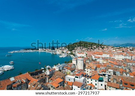 Split - view of old town and coastline, Croatia.