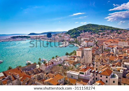 Split waterfront and Marjan hill aerial view, Dalmatia, Croatia - stock photo