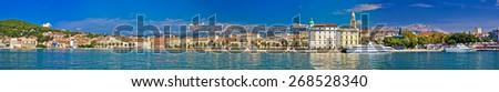 Split waterfront megapanoramic summer view, Dalmatia, Croatia - stock photo