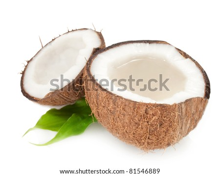 splitted coconut filled with milk isolated on white background