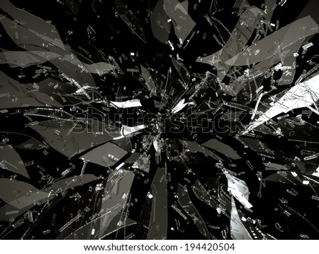 Splitted or broken glass pieces isolated on black background