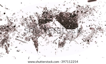 Splitted or shattered glass on white. Large resolution - stock photo