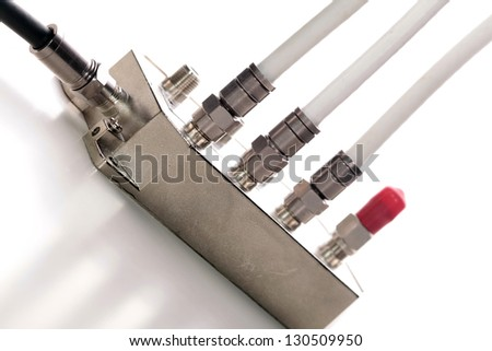 Splitter used in TV/SAT installation for sharing transmitted signal - stock photo
