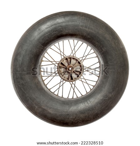 Spoke wheel with inflated tire tube on white background - stock photo
