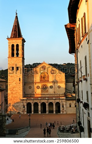 Spoleto, Umbria, Italy- 12 August 2014 : Spoleto Cathedral (Cattedrale di Santa Maria Assunta; Duomo di Spoleto) - stock photo