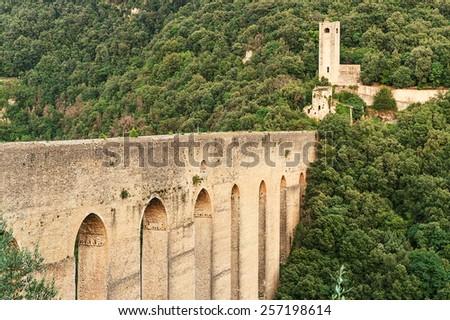 Spoleto, Umbria, Italy- 12 August 2014 :The Towers' Bridge (Ponte delle Torri). One of the most famous Spoleto Landmarks in Umbria, Italy - stock photo