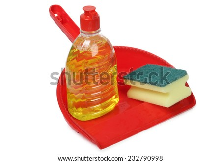 Sponge and cleaning products on white background - stock photo