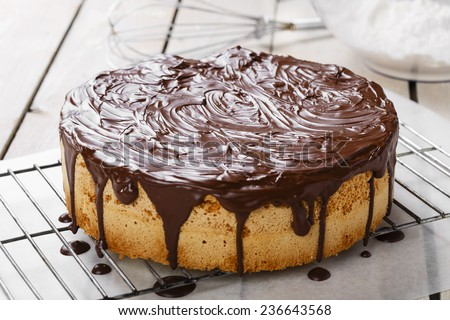 sponge cake covered in chocolate - stock photo