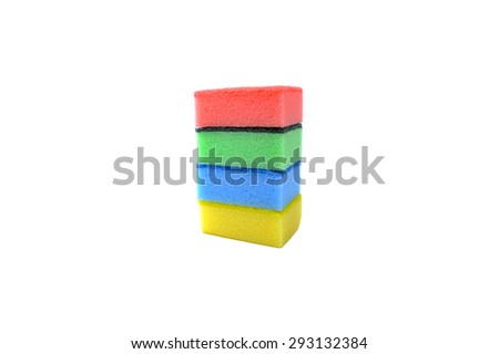 Sponge cleaners, detergents, household cleaning sponge for cleaning over white background.   - stock photo