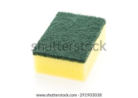 Sponge dish isolated on white background - stock photo